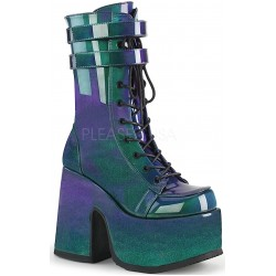 Purple-Green Patent Platform Chunky Heel Boots Mild to Wild Womens Shoes  Shoes for Women from Flats to Extreme High Heels & Platforms
