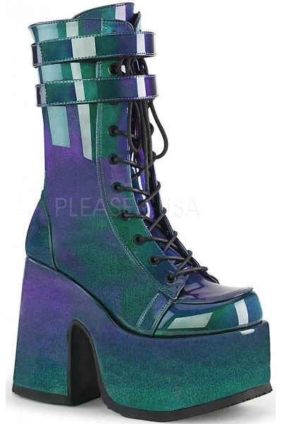 Purple-Green Patent Platform Chunky Heel Boots at Mild to Wild Womens Shoes,  Shoes for Women from Flats to Extreme High Heels & Platforms