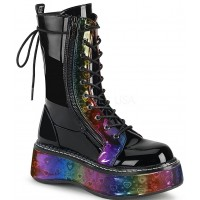 Emily Rainbow Hearts Platform Mid-Calf Boot