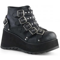 Scene Buckled Black Ankle Boots