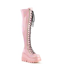 Shaker Pink Hologram Womens Thigh High Gothic Platform Boot