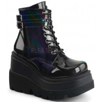 Shaker 52 Lace Up Front Stacked Wedge Ankle Boot