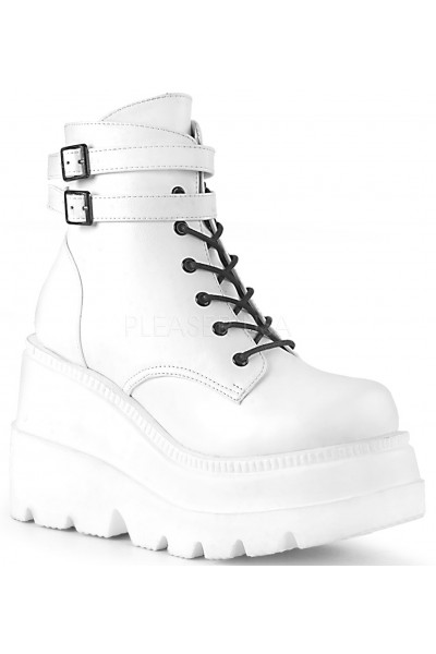 Shaker 52 White Stacked Wedge Ankle Boot at Mild to Wild Womens Shoes,  Shoes for Women from Flats to Extreme High Heels & Platforms