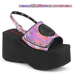 Skull and Crossbone Pink Hologram Platform Convertible Mule Mild to Wild Womens Shoes  Shoes for Women from Flats to Extreme High Heels & Platforms