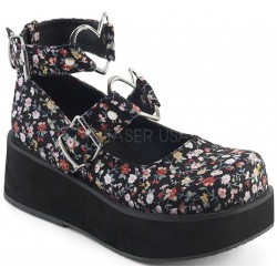 Sprite Floral Print Heart Ring Platform Mary Jane