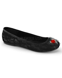 Black Lace Overlay Skeleton Star Ballet Flat