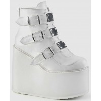 White Swing 105 Platform Wedge Ankle Boot