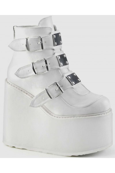White Swing 105 Platform Wedge Ankle Boot at Mild to Wild Womens Shoes,  Shoes for Women from Flats to Extreme High Heels & Platforms
