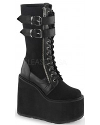 Swing 221 Canvas and Vegan Leather Knee Boot