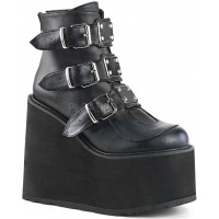 Black Swing 105 Platform Wedge Ankle Boot