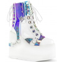 Hologram Bondage Strap White Gothic Ankle Boots