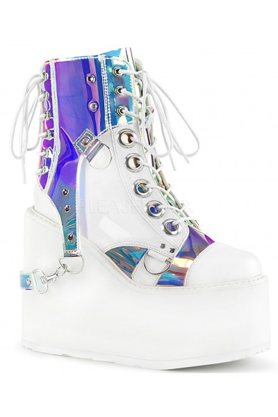 Hologram Bondage Strap White Gothic Ankle Boots at Mild to Wild Womens Shoes,  Shoes for Women from Flats to Extreme High Heels & Platforms