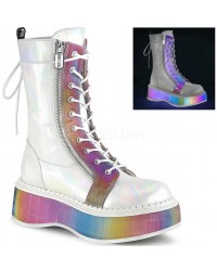 Emily Rainbow Platform White Mid-Calf Boot