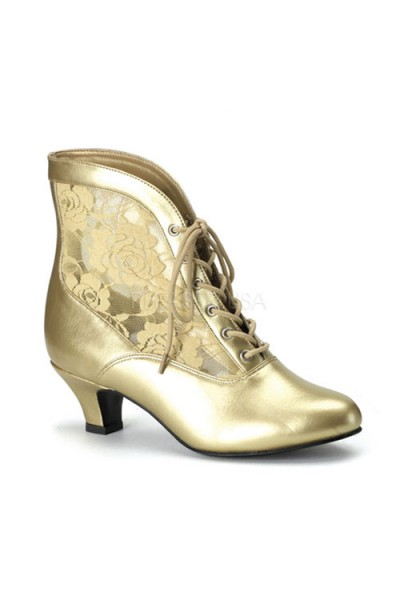Victorian Dame Gold Ankle Boot at Mild to Wild Womens Shoes,  Shoes for Women from Flats to Extreme High Heels & Platforms
