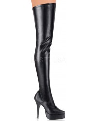 Black Indulge Faux Leather Stiletto Heel Boot