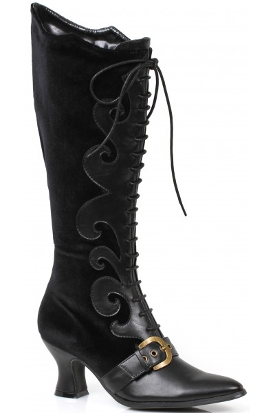 Fain Black Velvet Witches Boot at Mild to Wild Womens Shoes,  Shoes for Women from Flats to Extreme High Heels & Platforms