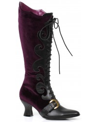 Fain Purple Velvet Witches Boot
