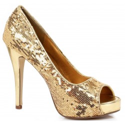 Gold Flamingo Sequin Peep Toe Pumps Mild to Wild Womens Shoes  Shoes for Women from Flats to Extreme High Heels & Platforms