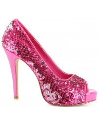 Hot Pink Flamingo Sequin Peep Toe Pumps