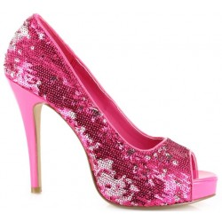 Hot Pink Flamingo Sequin Peep Toe Pumps Mild to Wild Womens Shoes  Shoes for Women from Flats to Extreme High Heels & Platforms