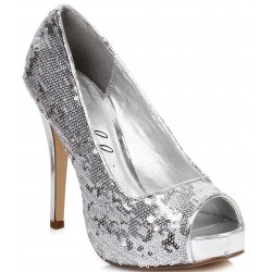 Silver Flamingo Sequin Peep Toe Pumps Mild to Wild Womens Shoes  Shoes for Women from Flats to Extreme High Heels & Platforms