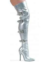 Buckle Up Silver Thigh High 5 Inch Heel Boot