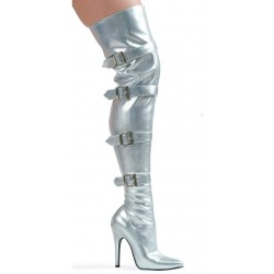 Buckle Up Silver Thigh High 5 Inch Heel Boot Mild to Wild Womens Shoes  Shoes for Women from Flats to Extreme High Heels & Platforms