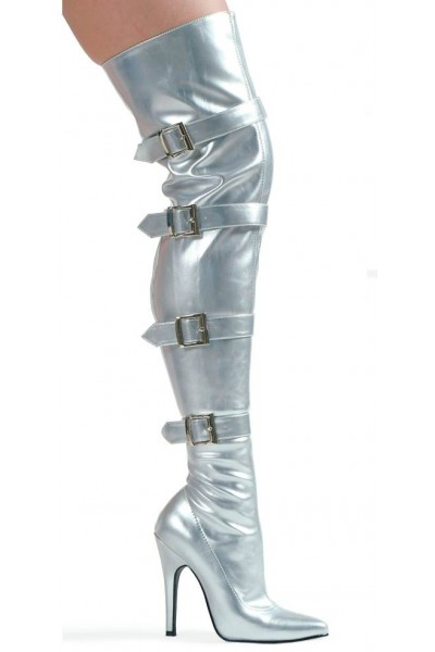 Buckle Up Silver Thigh High 5 Inch Heel Boot at Mild to Wild Womens Shoes,  Shoes for Women from Flats to Extreme High Heels & Platforms