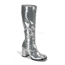 Spectacular Silver Sequin Covered Gogo Boots Mild to Wild Womens Shoes  Shoes for Women from Flats to Extreme High Heels & Platforms