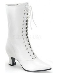 White Victorian Steampunk Ankle Boots
