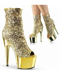Gold Sequin Adore Platform Ankle Boots