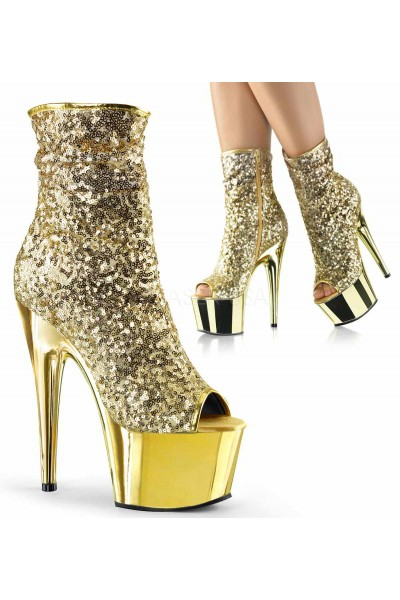 Gold Sequin Adore Platform Ankle Boots at Mild to Wild Womens Shoes,  Shoes for Women from Flats to Extreme High Heels & Platforms