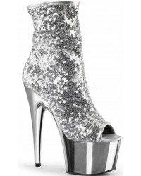Silver Sequin Adore Platform Ankle Boots