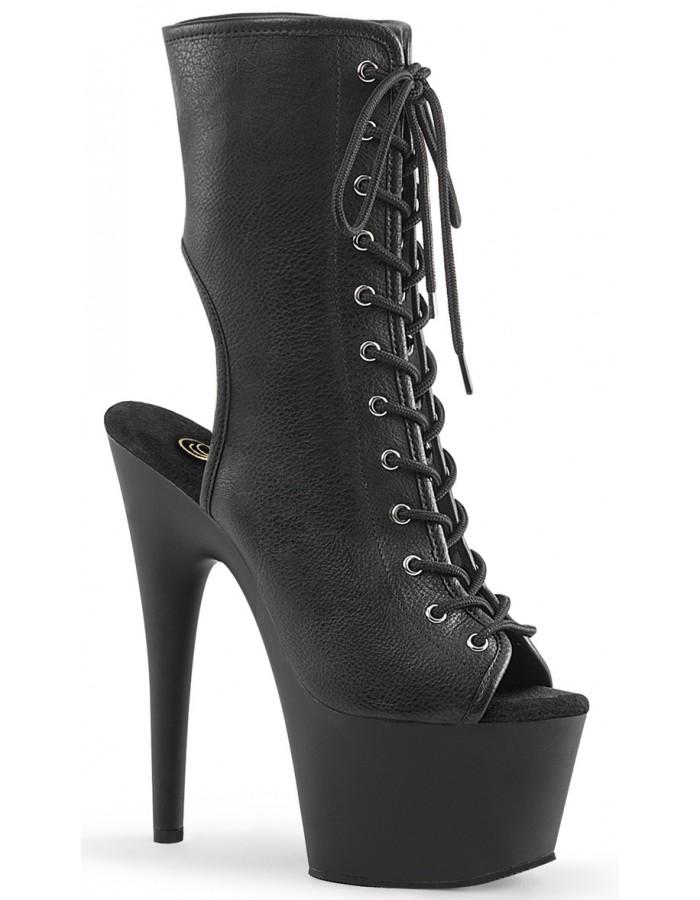 Women Retro Round Toe High Heel Platform Lace Up Ankle Boots Black Dark Red