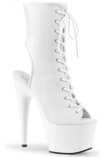 White Faux Leather Adore Platform Ankle Boots at Mild to Wild Womens Shoes,  Shoes for Women from Flats to Extreme High Heels & Platforms