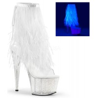 Neon White Marabou Trimmed Platform Ankle Boot