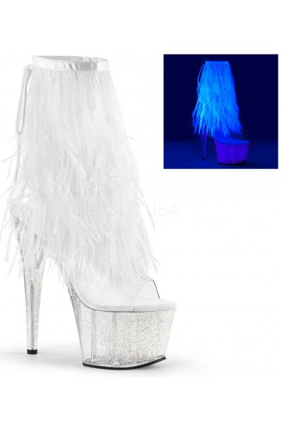 Neon White Marabou Trimmed Platform Ankle Boot at Mild to Wild Womens Shoes,  Shoes for Women from Flats to Extreme High Heels & Platforms