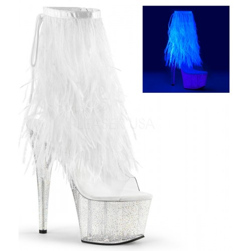 Neon White Marabou Trimmed Platform Ankle Boot at Mild to Wild Shoes,  Shoes for Women from Flats to Extreme High Heels & Platforms