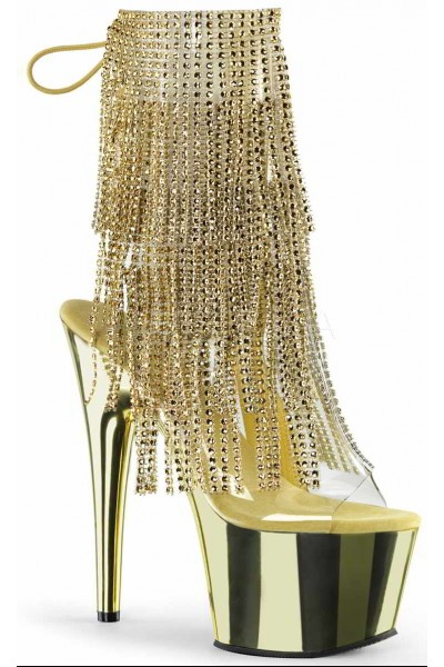 Gold Rhinestone Fringe Platform Ankle Boot at Mild to Wild Womens Shoes,  Shoes for Women from Flats to Extreme High Heels & Platforms
