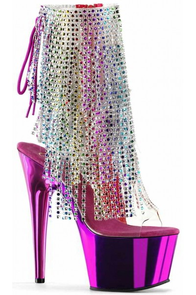 Hot Pink Rhinestone Fringe Platform Ankle Boot at Mild to Wild Womens Shoes,  Shoes for Women from Flats to Extreme High Heels & Platforms