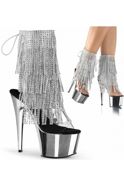 Silver Rhinestone Fringe Platform Ankle Boot at Mild to Wild Womens Shoes,  Shoes for Women from Flats to Extreme High Heels & Platforms