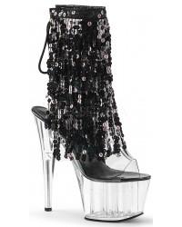 Black Sequin Fringe 7 Inch Heel Ankle Boot