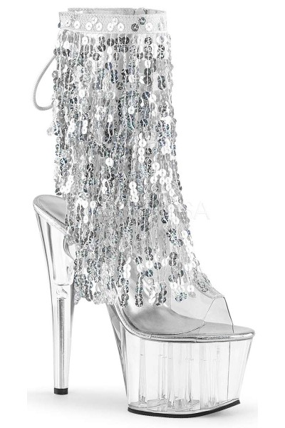 Silver Sequin Fringe 7 Inch Heel Ankle Boot at Mild to Wild Womens Shoes,  Shoes for Women from Flats to Extreme High Heels & Platforms