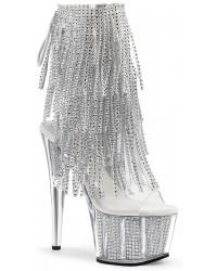Rhinestone Fringed Silver 7 Inch Heel Ankle Boot
