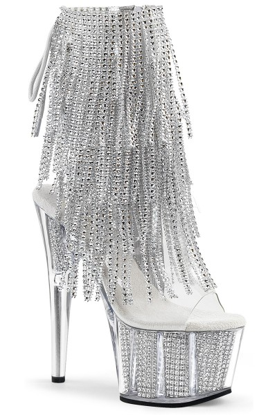 Rhinestone Fringed Silver 7 Inch Heel Ankle Boot at Mild to Wild Shoes,  Shoes for Women from Flats to Extreme High Heels & Platforms