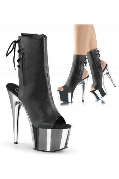 Chrome Heel Black Peep Toe and Heel Platform Ankle Boot at Mild to Wild Womens Shoes,  Shoes for Women from Flats to Extreme High Heels & Platforms