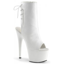White Peep Toe and Heel Platform Ankle Boot Mild to Wild Womens Shoes  Shoes for Women from Flats to Extreme High Heels & Platforms