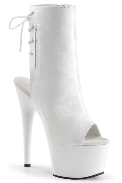 White Peep Toe and Heel Platform Ankle Boot at Mild to Wild Womens Shoes,  Shoes for Women from Flats to Extreme High Heels & Platforms