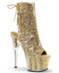 Gold Glittered Platform Ankle Boot