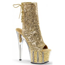 Gold Glittered Platform Ankle Boot Mild to Wild Womens Shoes  Shoes for Women from Flats to Extreme High Heels & Platforms